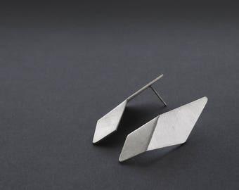 Sterling Silver Geometric Earrings, Silver Triangle Earrings, Triangle Drop Earrings, Minimalist Silver Earrings, Statement Earrings