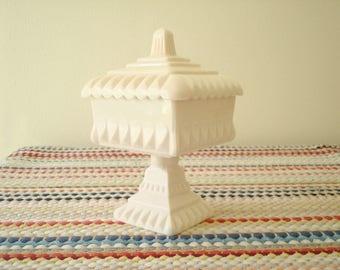 Jeannette pink milk glass, Wedding Bowl with lid, vintage 1950s pedestal server, bridal shower, sweet table, cake server, pink wedding gift