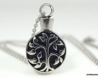Stainless Steel Tree of Life Necklace, Vial Necklace, Vial Pendant, Unisex Necklace, Stainless Pendant, Cremation Urn Necklace