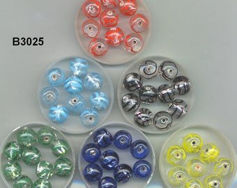 Vintage Czech Hand Made Silver Foil Round Glass Beads, B3025