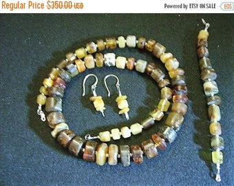 SALE Vintage Raw Baltic Amber Jewelry Set