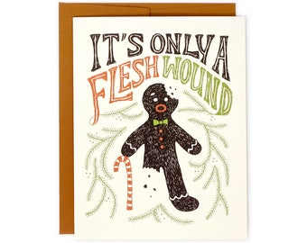 Funny Holiday Card - Flesh Wound