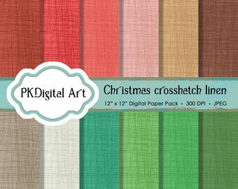 """Crosshatch Linen Digital Paper - """"Christmas Crosshatch Linen""""  Scrapbook Paper Crafting Supplies Canvas Backgrounds in Holiday Colors"""