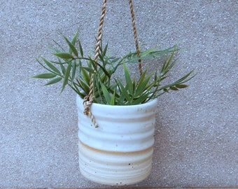 Hanging herb planter hand thrown stoneware pottery ceramic plant pot wheelthrown handmade