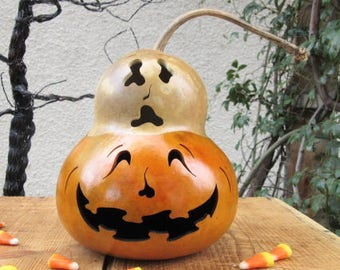 Halloween Gourd Ghost Top Jack O Lantern Primitive Pumpkin Decoration
