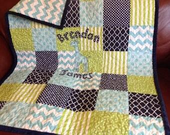 Baby Quilt Boy - Lime Green Aqua Navy - Modern Baby Quilt - Navy Green Blue Quilt - Giraffe Baby Quilt - Handmade - Modern Patchwork