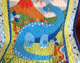 Dinosaur Blanket Quilt - READY TO SHIP - Baby Boy Quilt - Dandy Dinos - Blue Green Fabric Panel