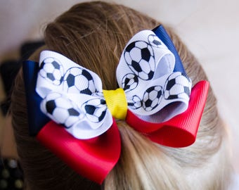 Hair Bow - RSL Inspired Game Day Soccer Bow