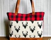 Woodland -  Buffalo Plaid- Buck - with Vegan Leather - Outside Pockets - Tote Bag /  Diaper Bag  / Large Bag