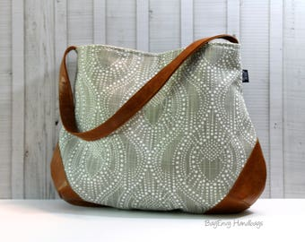 The Snoho Slouch Bag - Pearl Rays in Grey with Vegan Leather