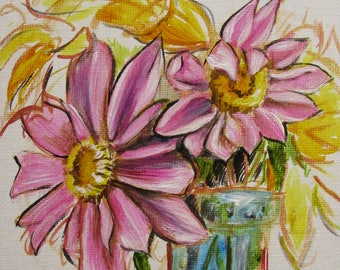 Dahlias II - original daily painting by Kellie Marian Hill