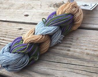 Mini Skein Chain 6 Hand Dyed miniskeins blue tan sandy beach green Hand Painted Sock Yarn 28 Yards Superwash Merino Nylon Treasured Toes