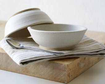 Set of two snack bowls in vanilla cream - hand thrown tapas style dishes