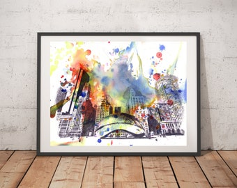 Chicago Skyline Art Print From Original Watercolor Painting  Chicago Art Cityscape 13x19 in Art Print Chicago Painting Chicago City Art