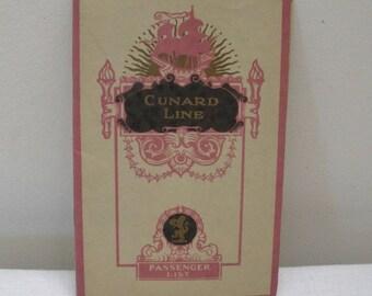 Vintage Cunard Line Passenger List - RMS Mauretania 1927