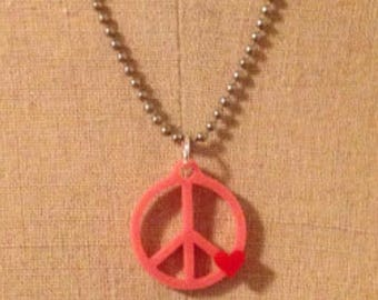 Peace Sign Necklace - Bubblegum Pink with Red Heart - Laser Cut Acrylic - Small Size