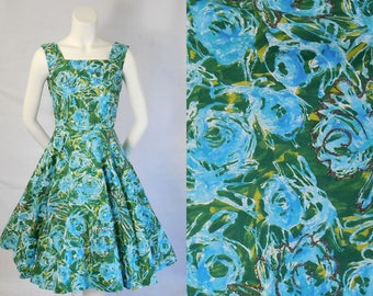 Reserved 1950 Polished Cotton Summer Dress Full Skirt with Glitter Accents