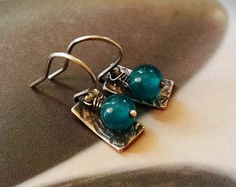 Jade 925 silver earrings, dangle earrings, jade jewelry, small earrings, blue gem, small gift, affordable, under 25, for daughter, for sis