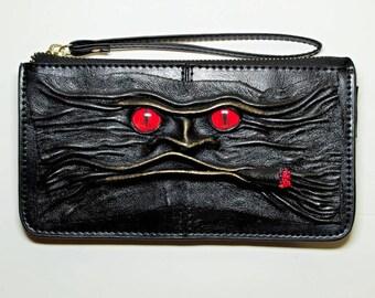 Genuine Leather Long Black Clutch Women Zipper cowhide Purse Wallet Card Holders Wristlet. Handmade leather wallet. Smoker monster face bag