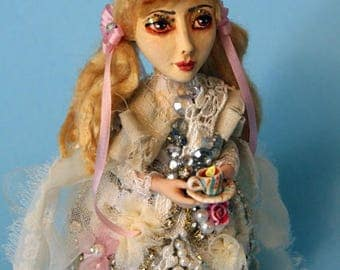 OOAK doll one of a kind Alice in Wonderland art doll Mad Hatter Tea Party Shabby Chic vintage style