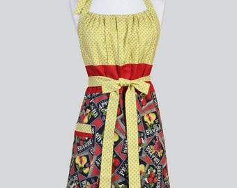 SALE Cute Kitsch Womens Apron , Farmers Market Apples Oranges and Pears Assorted Fruits Retro Vintage Style Kitchen Apron with Pockets