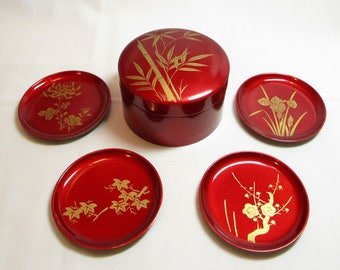 Vintage Japanese Lacquerware Box with 4 Coasters with bamboo and flowers