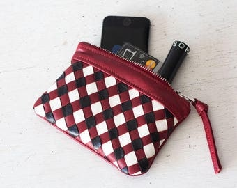 Handwoven red leather with black and white strips zipper pouch coin purse zipper case small money bag credit card zip - The Leto pouch