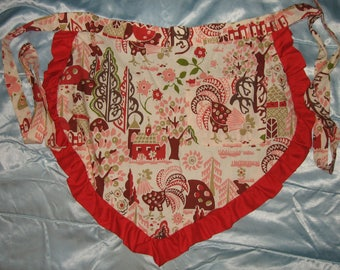 JKW Country Chic Farm Barn Flowers ROOSTERs Handmade Half APRON with Pocket