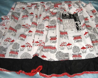 JKW CityScape Cafe Art DECO Modern White Black Red Lace Half APRON with Pocket