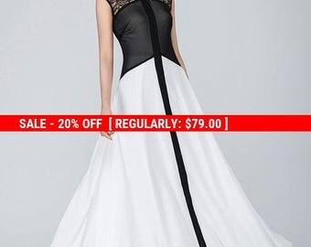 Black and white dress, chiffon dress,  maxi dress,long dress, party dress, prom dress, designer dress, evening gown, mod dress , Gift 1556