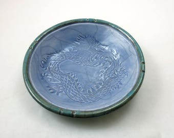 RAKU DRAGON  bowl Handmade Ceramic Pottery