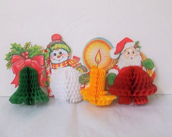 Beistle Honeycomb Christmas Decor x 4..Small Honey Comb Santa, Snowman, Candle, Bell..1984 Fold-Out