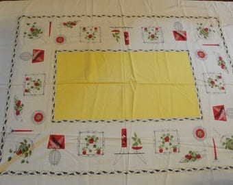 Vintage Cotton Table Cloth Yellow  House Hold 71 X 54