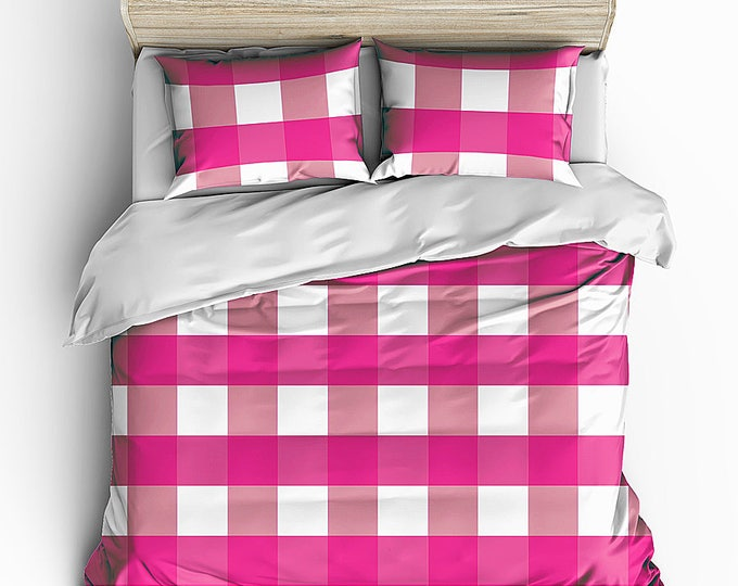 Gingham Bed Set, Girl's Room Decor, Bed Duvet, Grad Gift, Dorm Decor, Modern Room Decor, Cottage chic, matching bed set, teen room decor