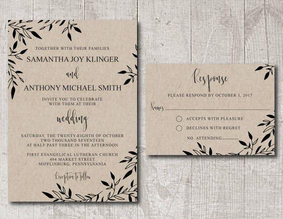 Rustic Wedding Invitation Template Printable, wedding invitation template rustic, diy wedding invitation, instant download wedding invite