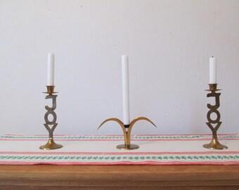 Vintage Brass Candlestick Pair, Joy, Christmas Candlesticks