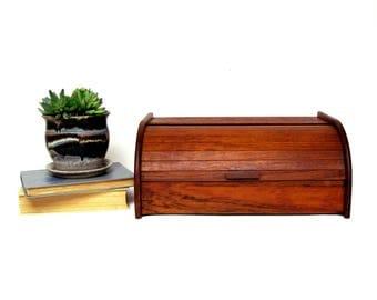 Vintage Teak Tambor Door Storage Box