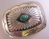 "Native American Malachite Sterling Silver Belt Buckle 2"" x 1.5"" Vintage"