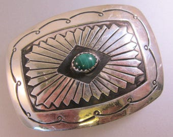 "Native American Malachite Sterling Silver Belt Buckle 2"" x 1.5"" Vintage"