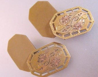 Edwardian Monogrammed L or S Gold Filled Cuff Links Cufflinks Signed S & S Antique Jewelry Jewellery