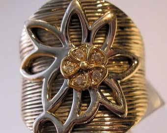 XMAS in JULY SALE Sonia Bitton 14k Sterling Diamond Flower Ring Size 6 Vintage Jewelry Jewellery