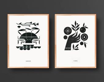 Zodiac Letterpress Print Series — 2 Print Set