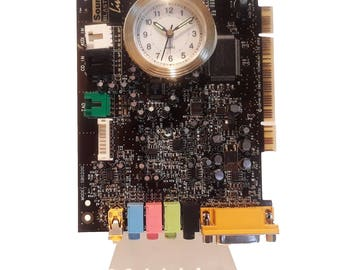 """Geek Alarm Clock from Recycled """"Sound Blaster"""" Circuit Board. Got Geek Award, Unique Gift, Novelty Clock, Rocker Clock, Gifts for Him?"""