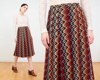 60s Skirt | Zig Zag Striped Skirt | Argyle Knit Wool Skirt | Pleated Skirt | Knee Length Midi Skirt | Preppy SchoolGirl Skirt | France M 29