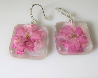Pink Verbena   Real Flower Earrings,   Pressed Flower Jewelry, Resin (3066)