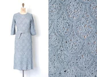 vintage 1950s dress |  50s ribbonwork dress | baby blue (medium - large)