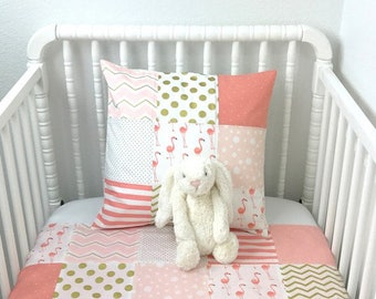 Baby Girl Blanket, Baby Bedding, Baby Quilt, Minky Baby Blanket, Nursery Decor, Baby Shower Gift, Blush Pink Coral Gold White Flamingo
