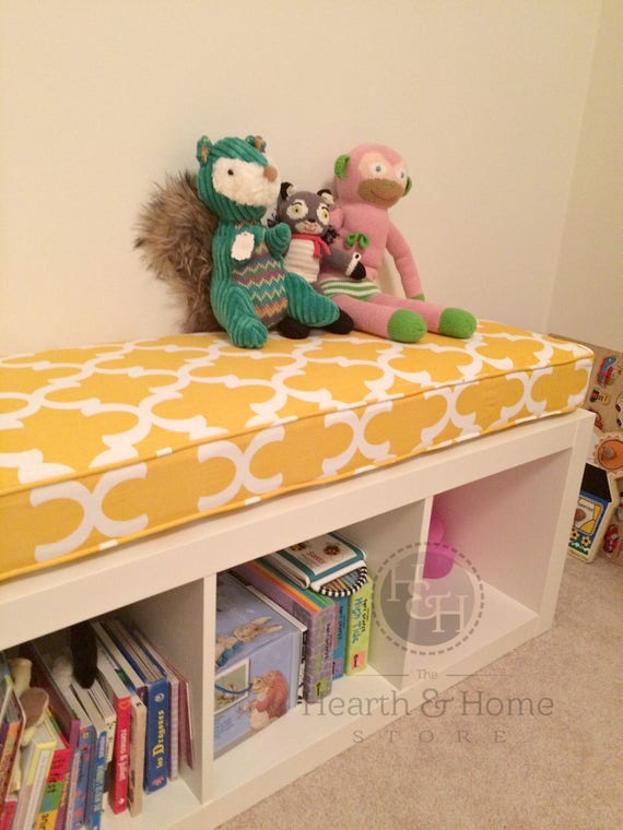 Hearth and Home custom cushion on Ikea Kallax shelf used as bench