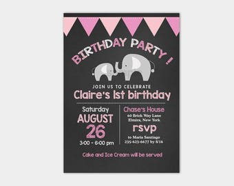 Mod Elephant Pink Girl Chalkboard Birthday Invitation Girls 1st Birthday, 2nd Birthday, Any age Birthday Invite bs-037