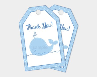 Little Blue Whale Thank You Gift Tags, DIY, Make your own favors, INSTANT DOWNLOAD
